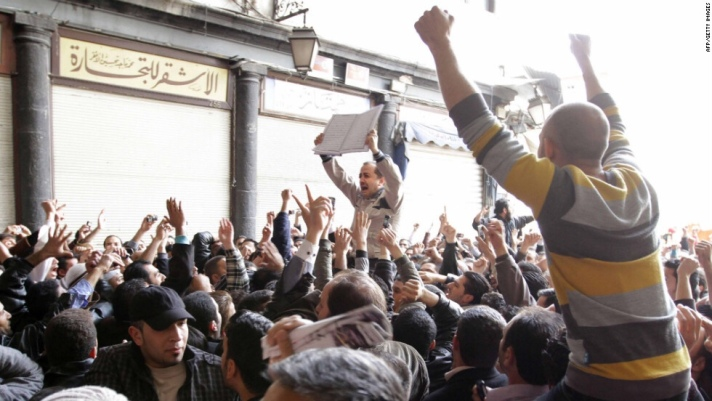 Protestors in Damascus, demanding justice for Daraa